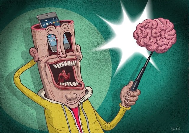 Isi Otak Orang Keluar Dari Kepala Isi HP Ponsel Pintar Tertawa Bahagia -stevecutts.com