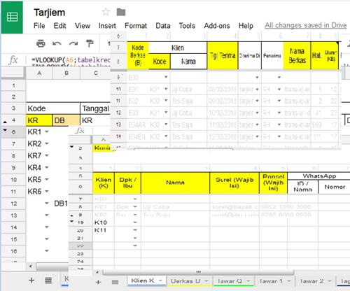 Gambaran Kolom dan Tabel Pangkalan Data Jasa Penerjemah tarjiem di Google Spreadsheet