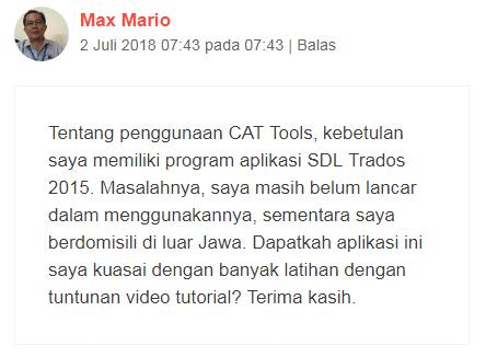 Komentar Pak Mario dalam Awal Mula Jualan Jasa Penerjemah Bahasa Inggris Indonesia (Translator)