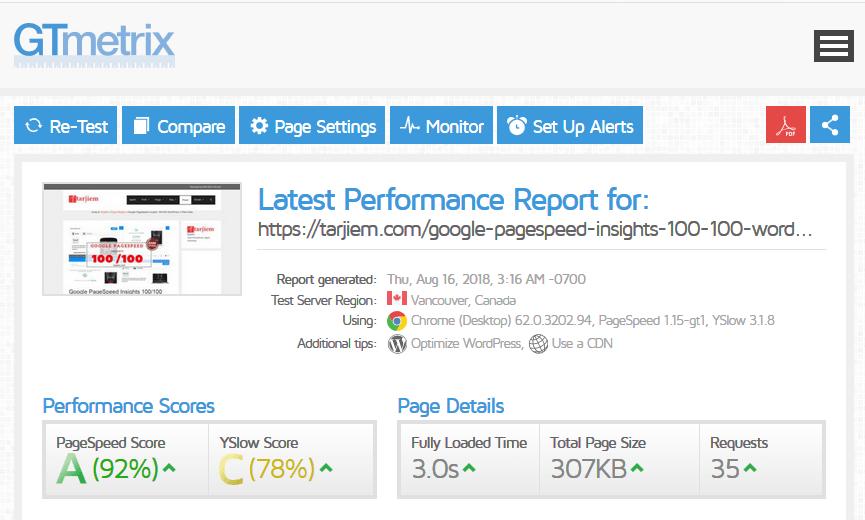 Contoh Kecepatan Blog Sampel Artikel 16-08-2018 GTmetrix- Plugin Elementor Saat di Hos Berbagi/Share Hosting USA
