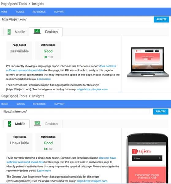 Kecepatan Halaman Depan tarjiem versi Google PageSpeed Insights Saat di Share Hosting USA 16 Agustus 2018 (Plugin Elementor, WordPress, Share Hosting USA)