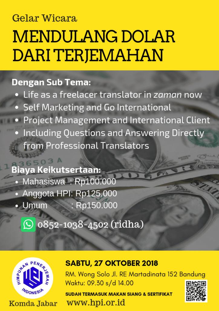 Konsep Awal Desain Poster Acara Cara Jadi Penerjemah Bahasa di Bandung - HPI Komda Jabar 27 Okt Wong Solo
