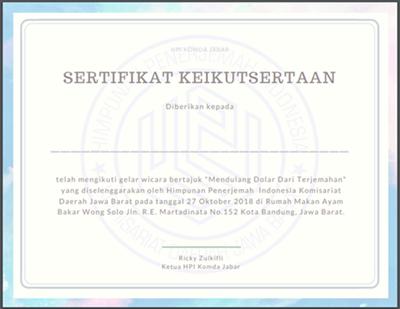 Desain Sertifikat HPI Komda Jabar Acara Wong Solo Penerjemah Bahasa (Bandung) Pakai Canva