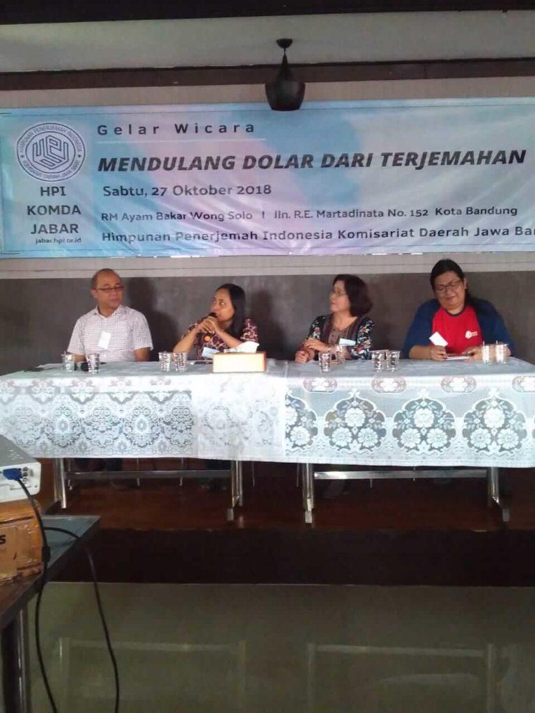 Para Pembicara dan Pembawa Acara Gelar Wicara HPI Komda Jabar 27 Oktober 2018