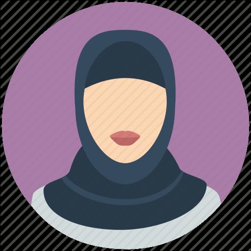 icon ikon hijab cewek wanita ungu