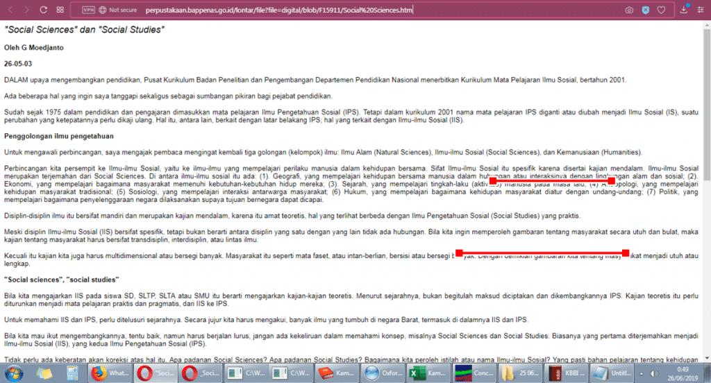 Terjemahan Indonesia Inggris Ilmu Pengetahuan Sosial Sosial Studies atau Social Science referensi G Moedjanto (Bappenas)