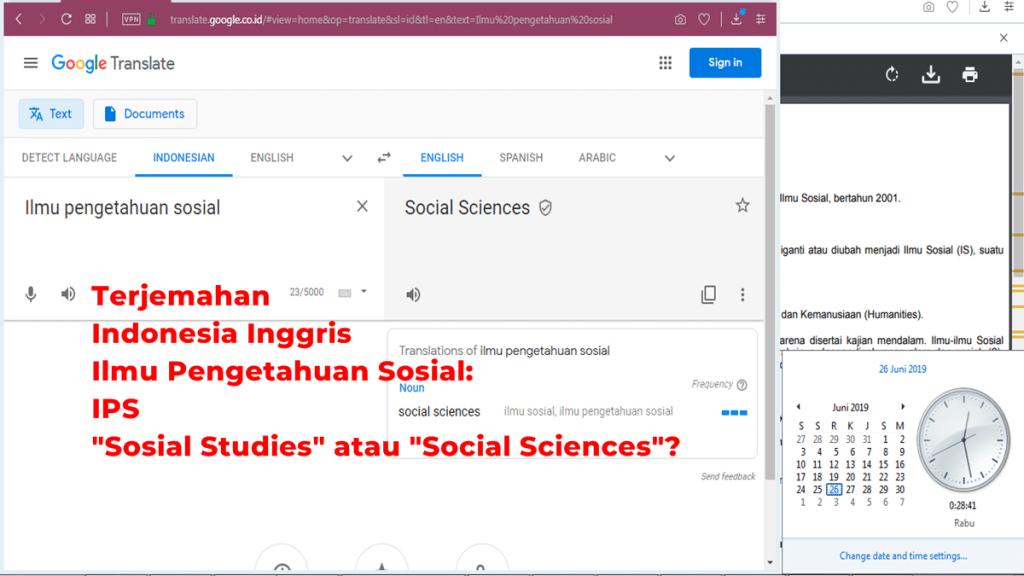 Terjemahan Indonesia Inggris Ilmu Pengetahuan Sosial: Sosial Studies atau Social Sciences?