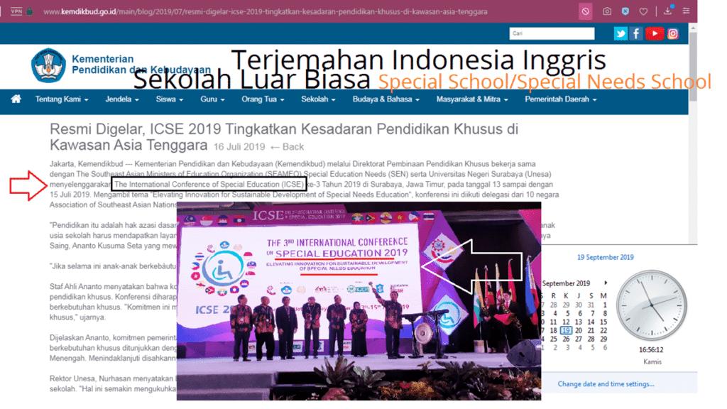Terjemahan Indonesia Inggris Sekolah Luar Biasa SLB