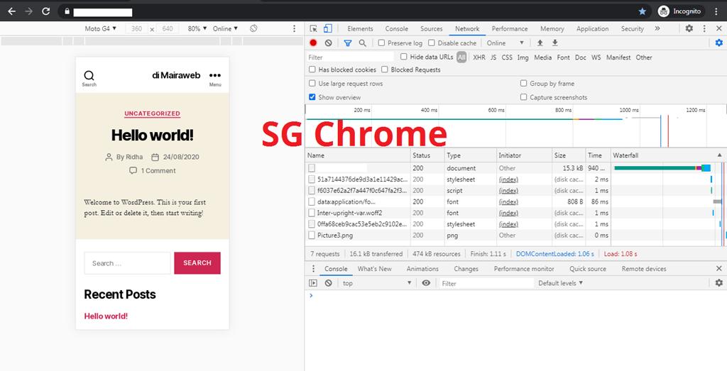 Hasil Uji Share Hosting Singapura Pakai Google Chrome