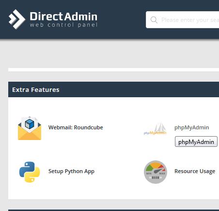 Cara Masuk phpMyAdmin MySQL Dari Panel Kontrol DirectAdmin Share Hosting