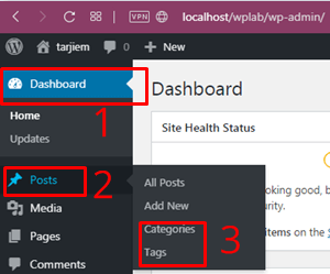 Menu WordPress wp-admin > Posts > Categoris/Tags